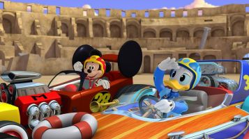 "MICKEY AND THE ROADSTER RACERS - ""Race for the Rigatoni Ribbon!"" - Mickey and the gang compete against Piston Pietro throughout Rome, while a runaway giant meatball chases after Goofy. This episode of ""Mickey and the Roadster Racers"" airs Monday, January 16 (12:00 - 12:25 P.M. EST) on Disney Junior. (Disney Junior) MICKEY MOUSE, DONALD DUCK"